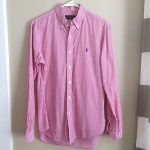 Ralph Lauren Raspberry & White Button Down Shirt M